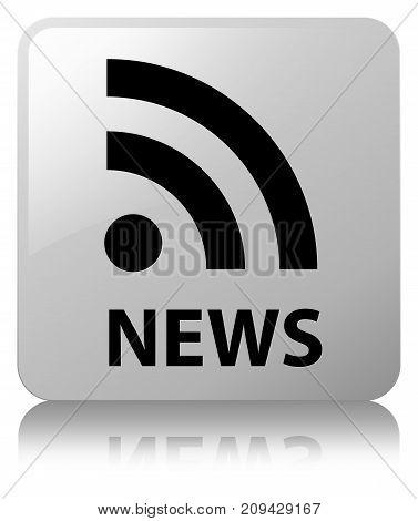 News (rss Icon) White Square Button