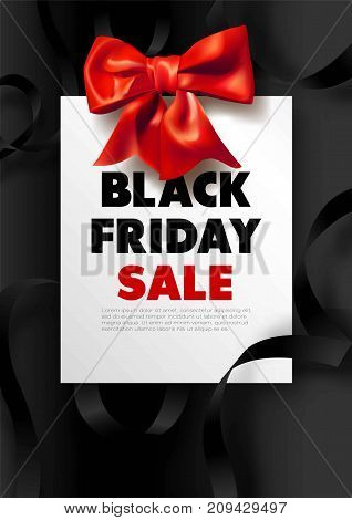 Black Friday sale dark promotional poster with red bow and swirls of silk ribbon vector illustration. Holiday discount for Christmas presents advertisement. Huge price reduction for all goods.