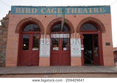 December 9, 2015 Tombstone Arizona USA: facade of the historic Birdcage Theater more than 120 bullet holes are found throughout the building