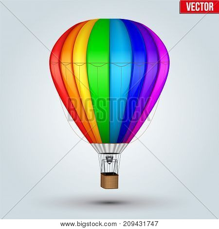 Realistic Hot Air Balloon. Rainbow Color. Editable Vector Illustration isolated on background.