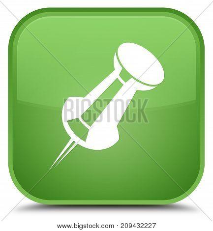 Push Pin Icon Special Soft Green Square Button