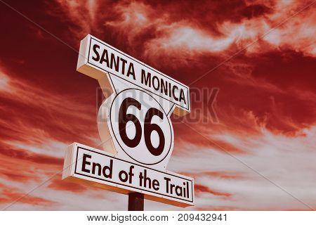 End Of Route 66 In Santa Monica, California.