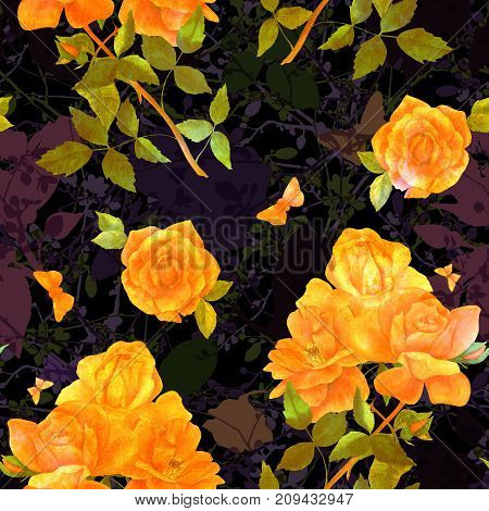 Seamless pattern with watercolor drawings of golden toned rose flowers and butterflies, on a black background with leaves and branches, hand painted in the style of vintage botanical art