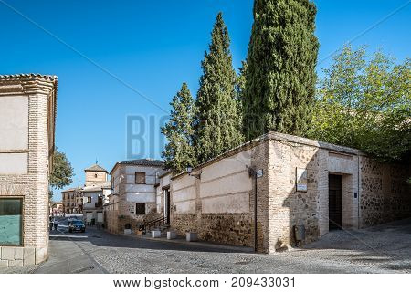 Toledo, Spain - October 13, 2017: Outdoor view of Santa Maria la Blanca Synagogue. It was constructed under the Christian Kingdom of Castile by Islamic architects.
