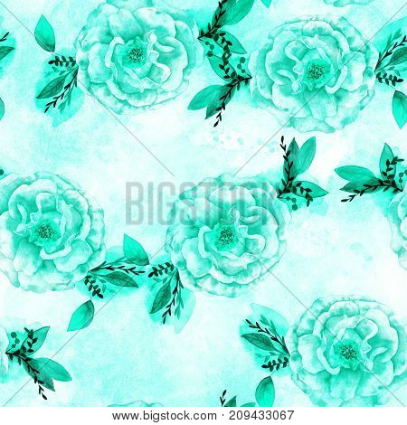 A seamless pattern with a watercolor drawing of a blooming rose with branches and leaves, toned in teal