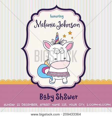 Beautiful Baby Shower Card Template With Lovely Baby Girl Unicorn
