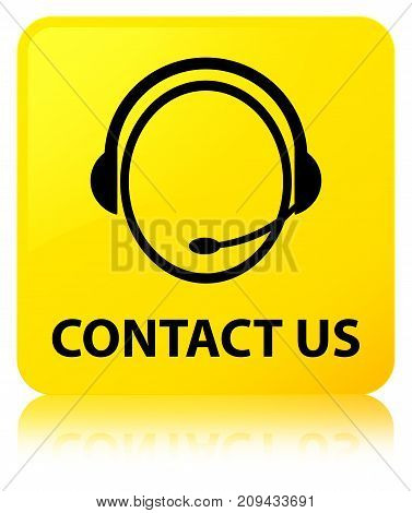 Contact Us (customer Care Icon) Yellow Square Button