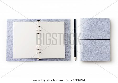 Business concept - Top view of stationery like open notebook pencil...etc for mockup design isolated on white desktop background