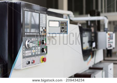CNC machine control panel. Shallow depth of field.