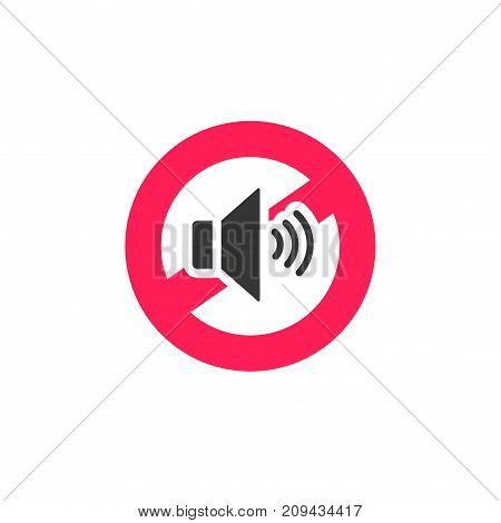No sound sign icon vector illustration, noise restricted symbol isolated on white background