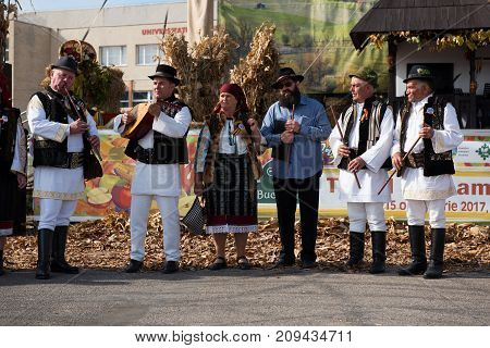 Band Performing Romanian Folk Music In Traditional Costumes