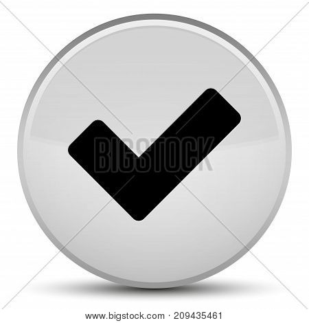 Validate icon isolated on special white round button abstract illustration poster