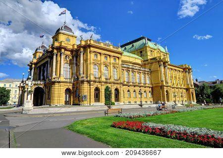 ZAGREB CROATIA 29 June 2017: The Croatian National Theater in Zagreb Croatia on June 29th 2017 in Zagreb Croatia.