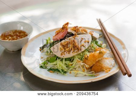 Vietnamese food, Banh Cuon name Rice noodle roll or rolled cake,