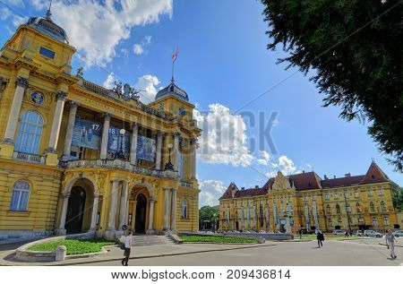 ZAGREB CROATIA 29 June 2017: The Croatian National Theater in Zagreb Croatia on June 29th 2017 in Zagreb Croatia.