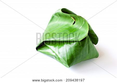 Sweet Sticky Rice With Thai Custard In The Banana Leaf Wrapped