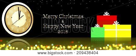 Merry Christmas and Happy New Year Background with colorful gift boxes and glitter bokeh at midnight time.