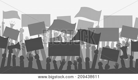 Silhouette crowd of people protesters. Protest, revolution, conflict. Flat vector illustration