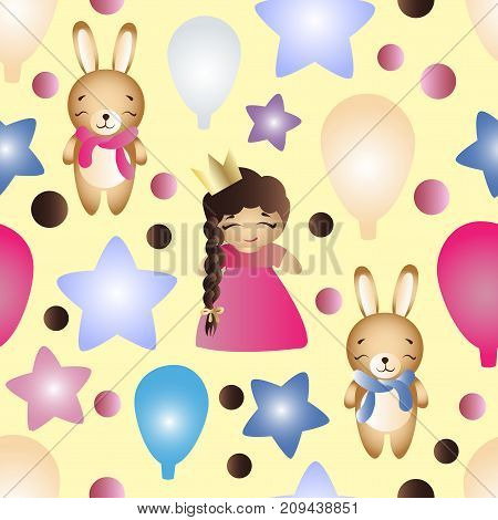 Seamless pattern with a cartoon cute toy baby girl bunny stars and balloons on a yellow background