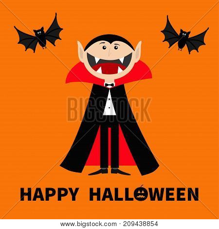 Count Dracula wearing black and red cape. Cute cartoon vampire character with big open mouth tongue and fangs Two flying bat animal. Happy Halloween. Flat design Orange background Vector illustration