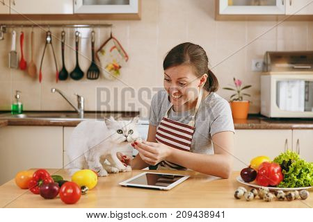 A Young Pretty Woman With White Persian Cat In The Kitchen With Tablet On The Table. Vegetable Salad