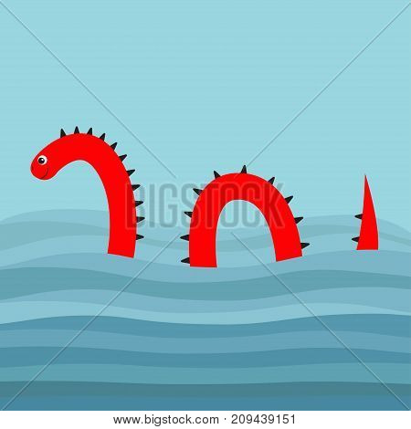 Water monster with thorns eye tail Swimming floating Sea ocean wave. Snake shape. Loch Ness Nessy fictional creature. Cute cartoon character. Baby collection. Flat design. Blue background. Vector
