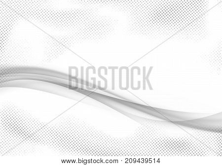 Grey modern futuristic abstract mild smooth swoosh wave background. Vector illustration