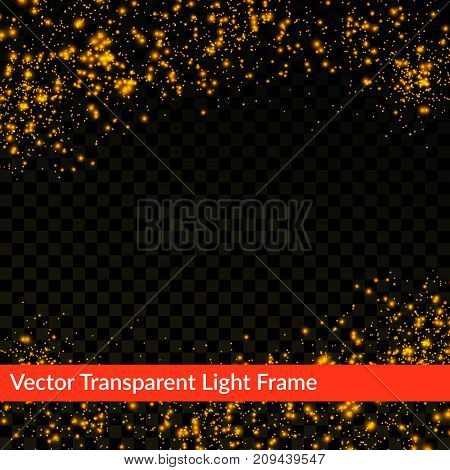 Golden shimmering abstract futuristic transparent light frame background. Holiday shiny sparkling confetti falling. Vector illustration