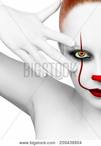 Redhead woman with scary clown grimm. Halloween. Isolated on white.