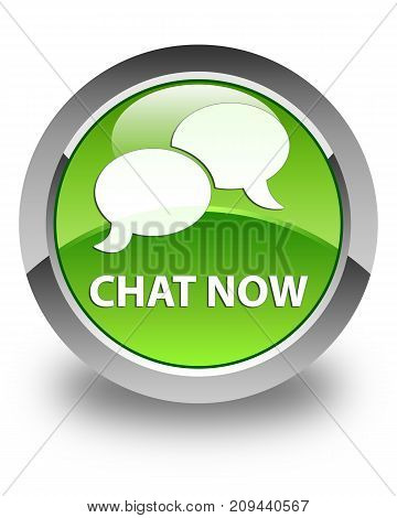 Chat Now Glossy Green Round Button