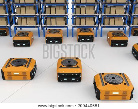 3d rendering warehouse robot assembly in factory