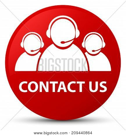 Contact Us (customer Care Team Icon) Red Round Button