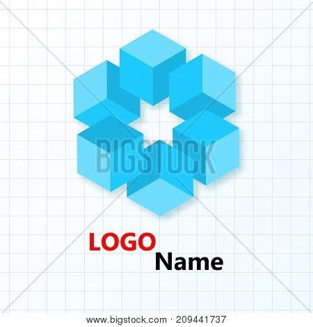 Flower of blue cubes on the background of the cells. Logo design. Logo name.