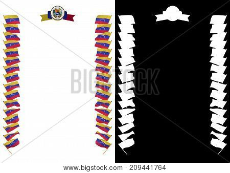 Frame And Border With Flag And Coat Of Arms Venezuela. 3D Illustration