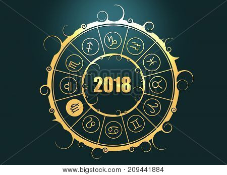 Astrological symbols in the circle. Maiden sign. Celebration card template. Zodiac circle with 2018 new year number. 3D rendering