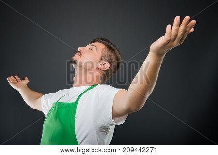 Portrait Supermarket Employer Posing Like A Winner
