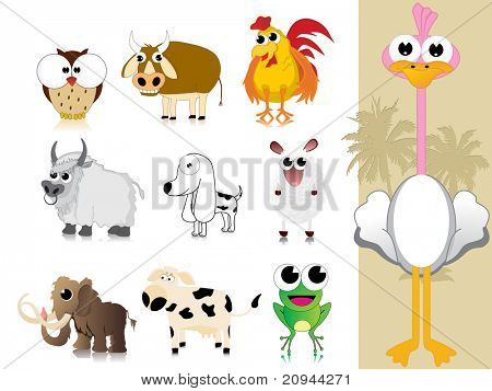 background with collection of cute animal