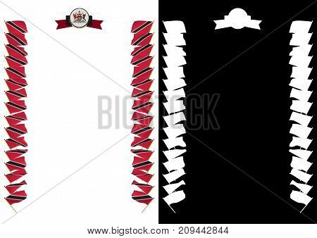 Frame And Border With Flag And Coat Of Arms Trinidad And Tobago. 3D Illustration