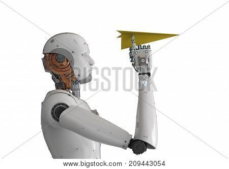 Robot Holding Paper Plane