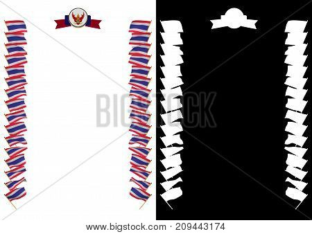 Frame And Border With Flag And Coat Of Arms Thailand. 3D Illustration