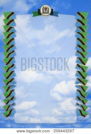 Frame And Border With Flag And Coat Of Arms Tanzania. 3D Illustration
