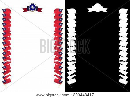 Frame And Border With Flag And Coat Of Arms Taiwan. 3D Illustration