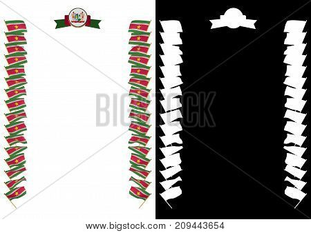 Frame And Border With Flag And Coat Of Arms Suriname. 3D Illustration