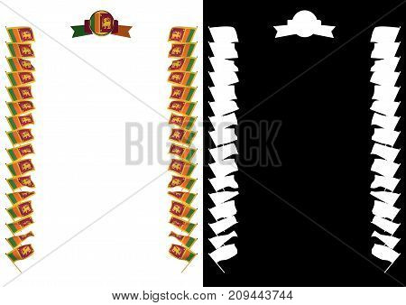 Frame And Border With Flag And Coat Of Arms Sri Lanka. 3D Illustration