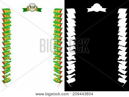 Frame And Border With Flag And Coat Of Arms Sao Tome And Principe. 3D Illustration