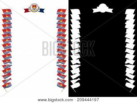 Frame And Border With Flag And Coat Of Arms Kiribati. 3D Illustration