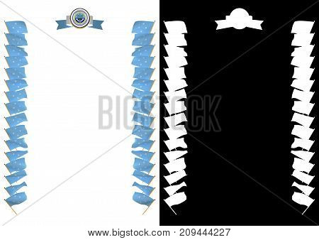 Frame And Border With Flag And Coat Of Arms Federated States Of Micronesia. 3D Illustration