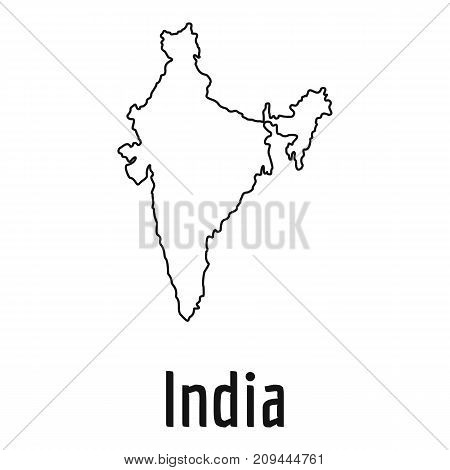 India map thin line. Simple illustration of India map vector isolated on white background