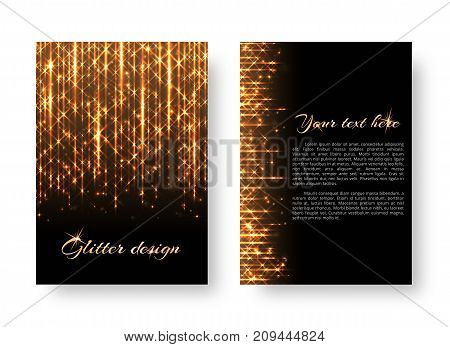 Glitter background with new year light. Lens flare vector on a black backdrop.