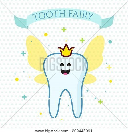 Smiling cartoon tooth fairy with wings on dotted background. Oral dental hygiene. Teeth whitening and restoration. Dental health symbol. Human body medical concept. Vector illustration.